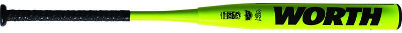 A yellow Mach XXL USSSA bat with a black Worth logo on the barrel - SKU: WM21MU