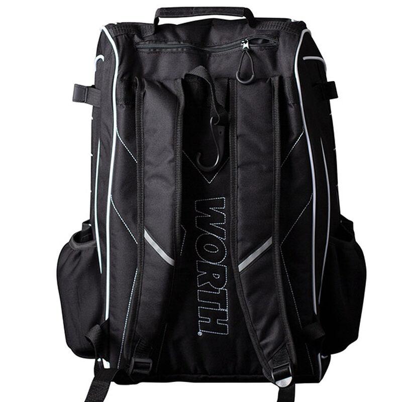 Back of a black Worth softball backpack with black shoulder straps - SKU: WORBAG-BP-BLK