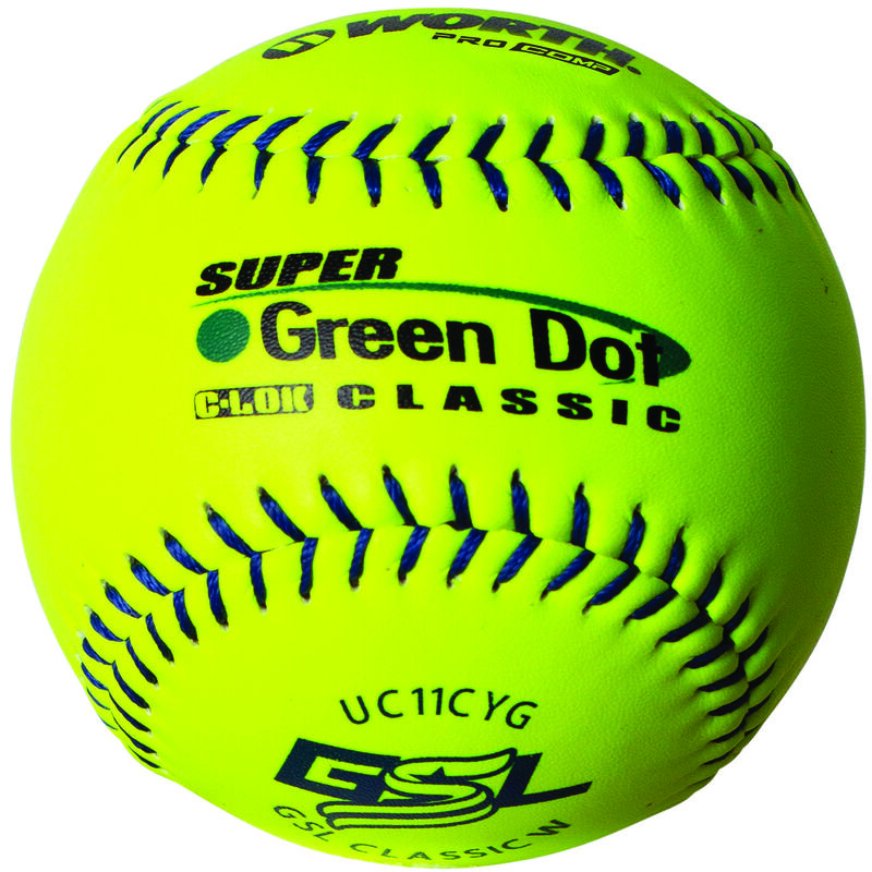 A Worth GSL 11 in Green Dot softball with green stitching - SKU: W00622755