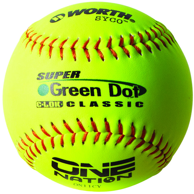 A Worth One Nation 11 in Green Dot softball with red stitching - SKU: W00653518