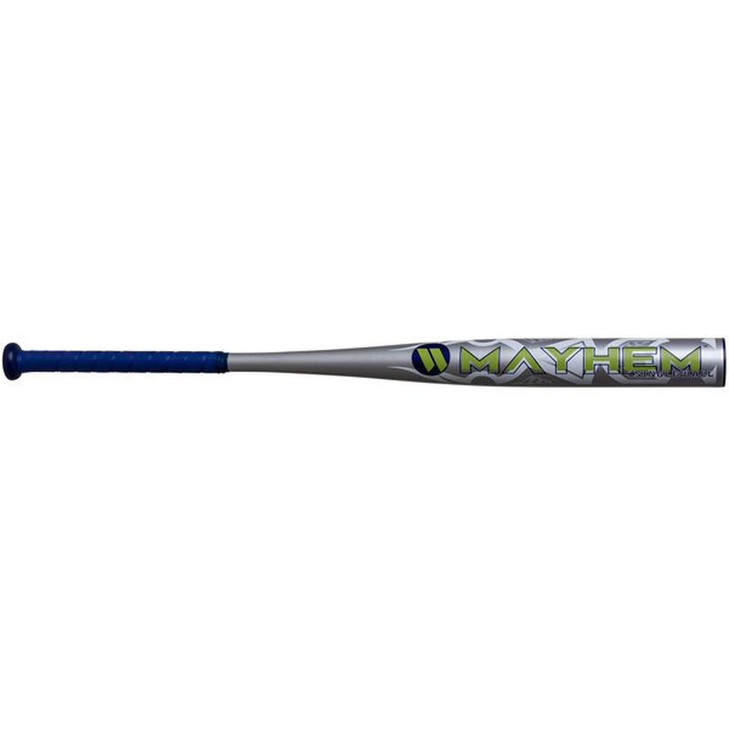 A silver 2020 Mayhem Alloy all association bat with a blue grip - SKU: WM20AA
