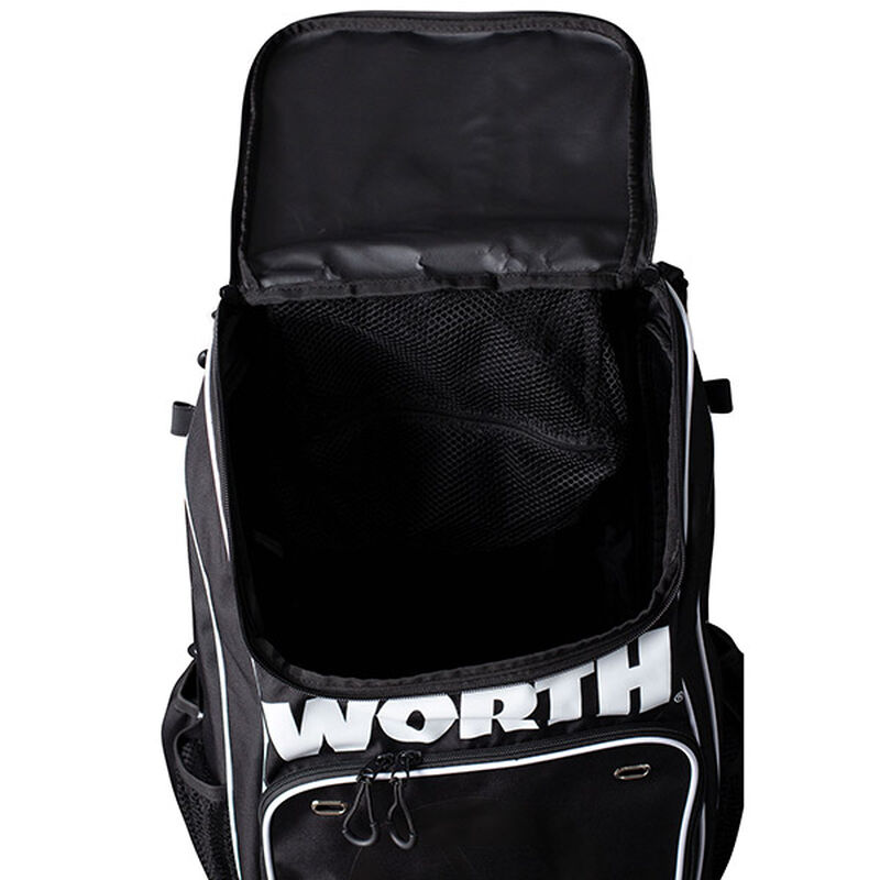 A black Worth backpack with the top compartment open - SKU: WORBAG-BP-BLK