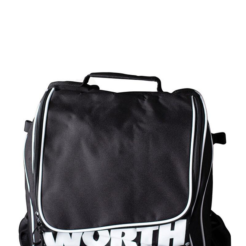 Top of a black Worth softball backpack - SKU: WORBAG-BP-BLK