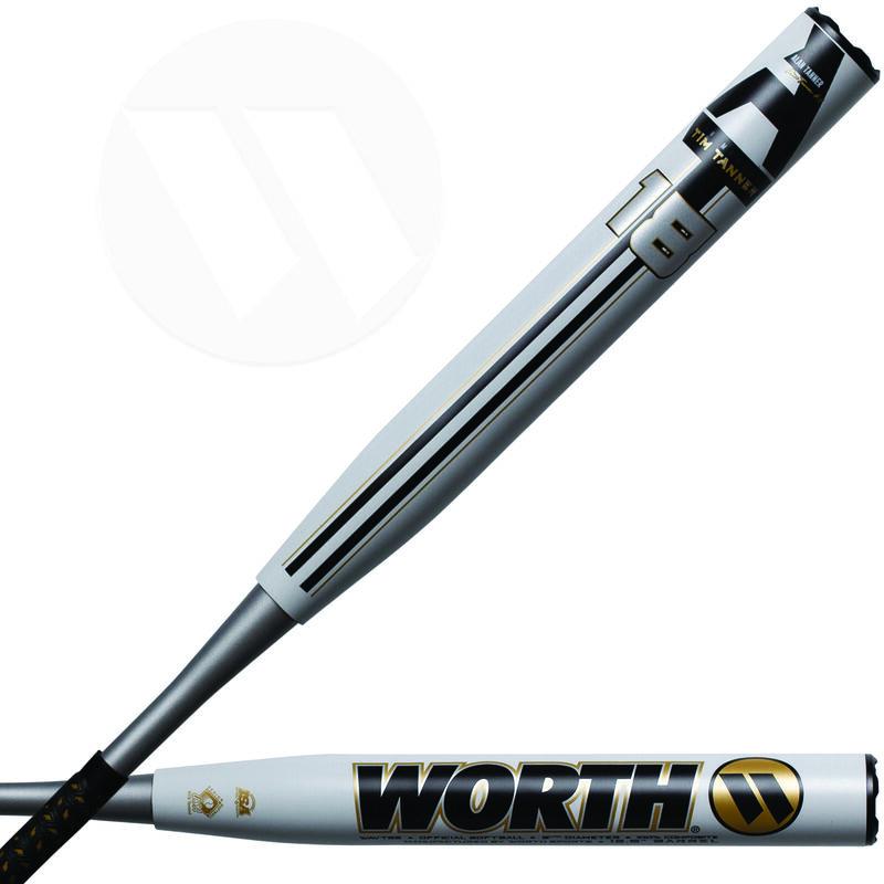A white 2021 Alan Tanner Advanced Technology XL SSUSA bat with an 18 logo on the barrel - SKU: WAVTSS