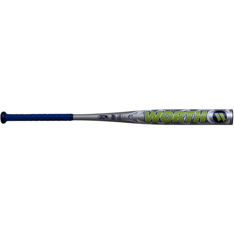 A silver 2020 Worth Mayhem all association bat with a green Worth logo - SKU: WM20AA