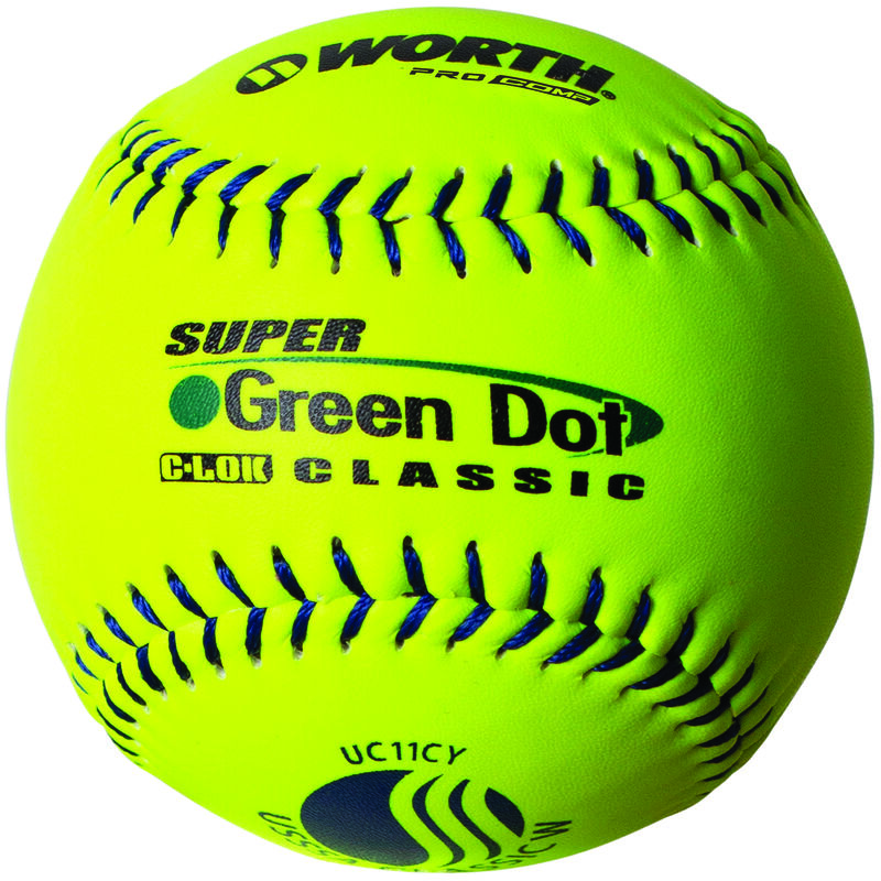 A Worth USSSA 11 in Green Dot UC11CY softball with blue stitching - SKU: W00622754