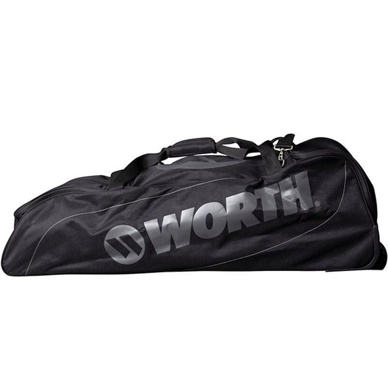 Side of a black Worth wheeled equipment bag - SKU: WORBAG-WB-BLK