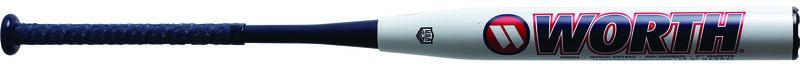 A white Worth Ryan Harvey USA XL bat with a navy/red Worth logo - SKU: WRH21A