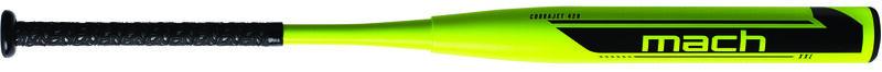A yellow Mach Cobra Jet USSSA XXL bat with a black Mach logo on the barrel - SKU: WM21MU