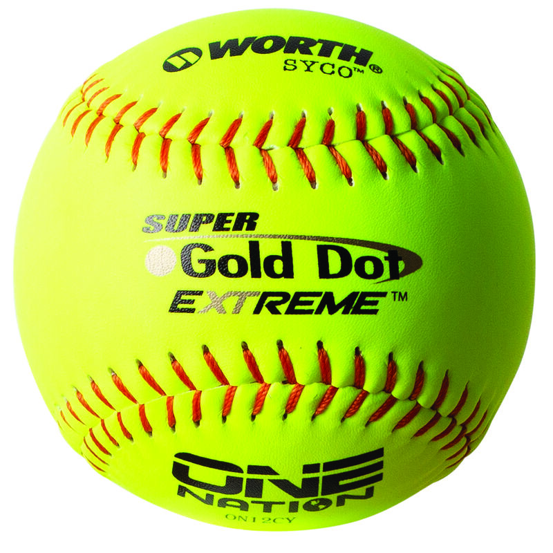 A Worth One Nation 12 in Gold Dot softball with red stitching - SKU: W00653517