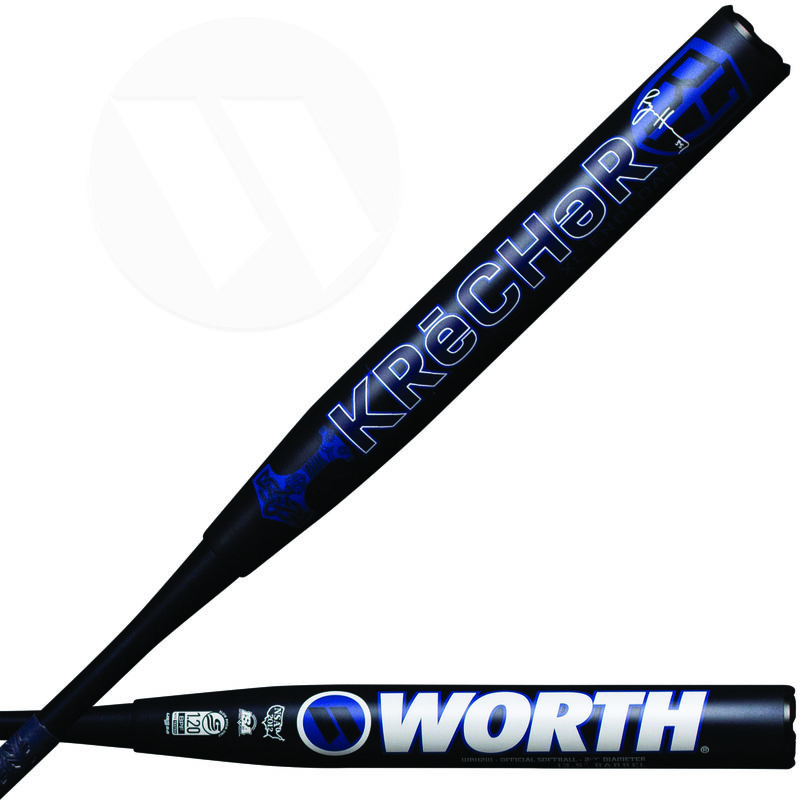 Two views of a 2021 Ryan Harvey KReCHeR XL USSSA bat with a KReCHeR logo on one and Worth logo on the other - SKU: WRH21U