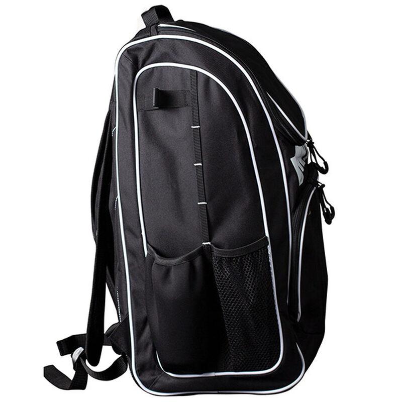 Side of a black Worth softball equipment backpack - SKU: WORBAG-BP-BLK