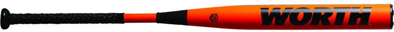 Black Worth logo on the orange barrel of a 2021 USA Mach balanced softball bat - SKU: WM21BA