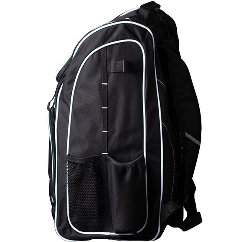 Side of a black Worth equipment backpack - SKU: WORBAG-BP-BLK