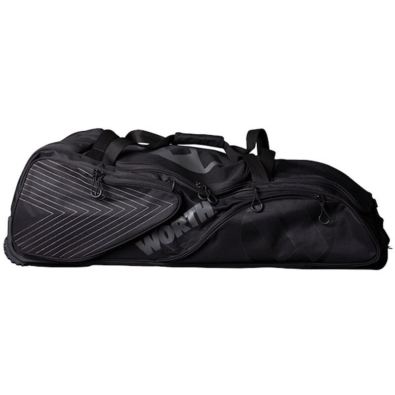 A black Worth wheeled softball bag - SKU: WORBAG-WB-BLK