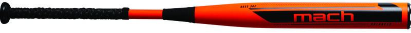 An orange 2021 Mach USA balanced bat with black logos and handle - SKU: WM21BA
